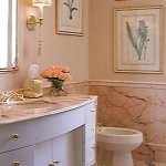 Park Avenue bathroom with slab marble wainscoting and floor.